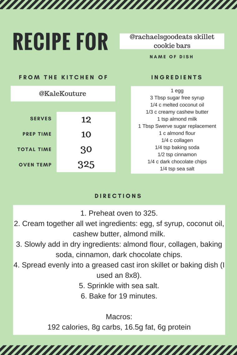 Green Stripes Simple Recipe Card (2)